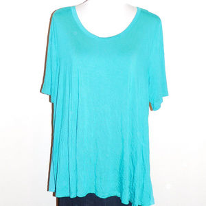 22/24 Lane Bryant Blue Chiffon Trim Stretch Top